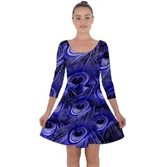 Peacock Feathers Color Plumage Quarter Sleeve Skater Dress by Pakrebo
