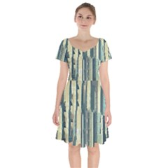 Texture Abstract Buildings Short Sleeve Bardot Dress by Pakrebo