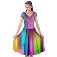 Abstract Background Colorful Cap Sleeve Wrap Front Dress