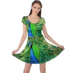 Peacock Peafowl Pattern Plumage Cap Sleeve Dress