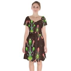 Background Non Seamless Pattern Short Sleeve Bardot Dress