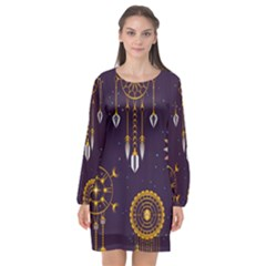 Background Non Seamless Pattern Long Sleeve Chiffon Shift Dress