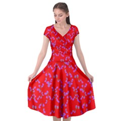 A L Red Pink Flora Cap Sleeve Wrap Front Dress by 1dsign