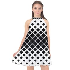 Square Rounded Diagonal Halter Neckline Chiffon Dress  by AnjaniArt