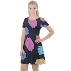 Many Colors Pattern Seamless Cap Sleeve Velour Dress  by Jojostore