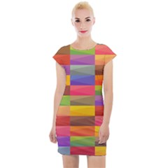 Abstract Background Geometric Cap Sleeve Bodycon Dress