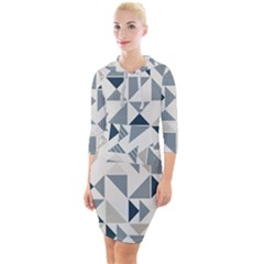 Geometric Quarter Sleeve Hood Bodycon Dress by AnjaniArt