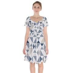 Geometric Short Sleeve Bardot Dress