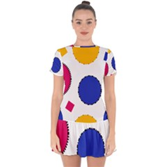 Circles Seamless Pattern Tileable Drop Hem Mini Chiffon Dress by Alisyart