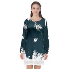Cat Nature Design Animal Skin Black Long Sleeve Chiffon Shift Dress  by HermanTelo