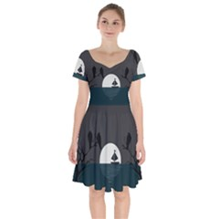Birds Moon Moonlight Tree Animal Short Sleeve Bardot Dress by HermanTelo
