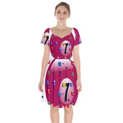 Billiard Ball Ball Game Pink Short Sleeve Bardot Dress