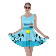 Birds Sun Tree Animal Black Tree Skater Dress