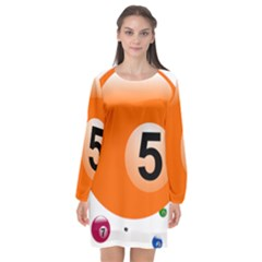 Billiard Ball Ball Game Pink Orange Long Sleeve Chiffon Shift Dress