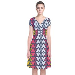 Background Colorful Geometric Unique Short Sleeve Front Wrap Dress by HermanTelo