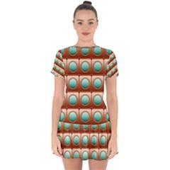 Abstract Circle Square Drop Hem Mini Chiffon Dress by HermanTelo