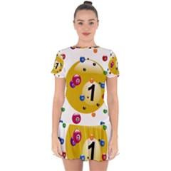 Billiard Ball Ball Game Drop Hem Mini Chiffon Dress