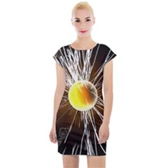 Abstract Exploding Design Cap Sleeve Bodycon Dress