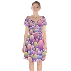 Abstract Background Circle Bubbles Short Sleeve Bardot Dress