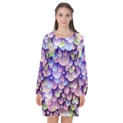 Abstract Background Circle Bubbles Space Long Sleeve Chiffon Shift Dress
