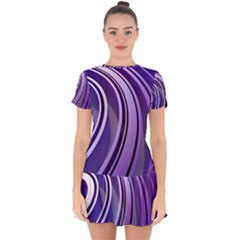 Circle Concentric Render Metal Drop Hem Mini Chiffon Dress by HermanTelo