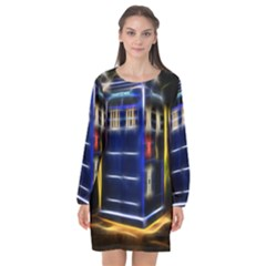 Famous Blue Police Box Long Sleeve Chiffon Shift Dress