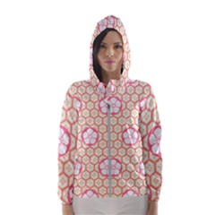 Floral Design Seamless Wallpaper Women s Hooded Windbreaker