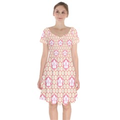 Floral Design Seamless Wallpaper Short Sleeve Bardot Dress