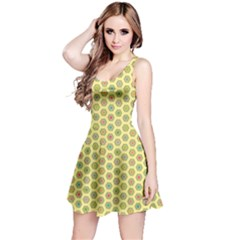 Hexagonal Pattern Unidirectional Yellow Reversible Sleeveless Dress