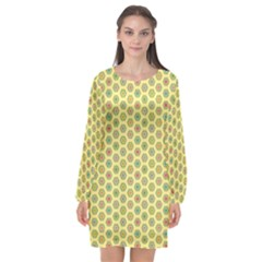 Hexagonal Pattern Unidirectional Yellow Long Sleeve Chiffon Shift Dress