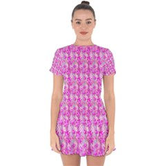 Maple Leaf Plant Seamless Pattern Drop Hem Mini Chiffon Dress by HermanTelo
