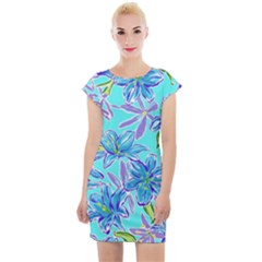 Preppy Floral Pattern Cap Sleeve Bodycon Dress by tarastyle