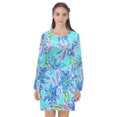 Preppy Floral Pattern Long Sleeve Chiffon Shift Dress  by tarastyle