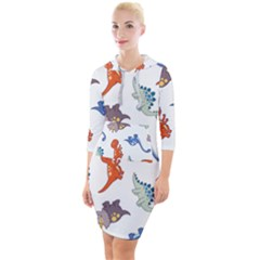 Pattern Dinosaurs Quarter Sleeve Hood Bodycon Dress by HermanTelo