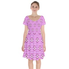 Paulownia Flowers Japanese Style Short Sleeve Bardot Dress