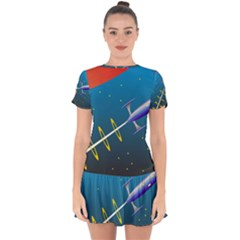 Rocket Spaceship Space Galaxy Drop Hem Mini Chiffon Dress