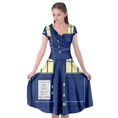 Tardis Doctor Who Time Travel Cap Sleeve Wrap Front Dress by HermanTelo