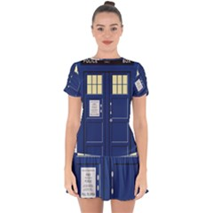 Tardis Doctor Who Time Travel Drop Hem Mini Chiffon Dress