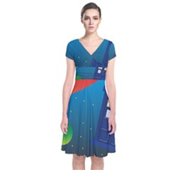 Tardis Doctor Time Travel Short Sleeve Front Wrap Dress