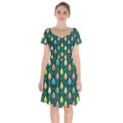Tulips Seamless Pattern Background Short Sleeve Bardot Dress