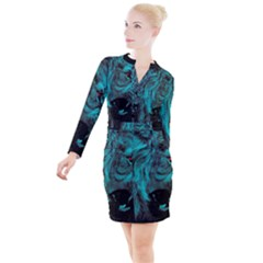 Angry Male Lion Predator Carnivore Button Long Sleeve Dress by Sudhe
