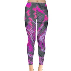 Fuchsia And Gray Snakeskin Leggings  by bottomsupbykenique