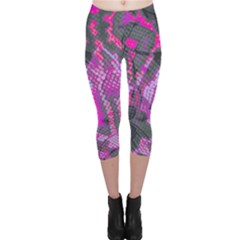 Fuchsia And Gray Snakeskin Capri Leggings  by bottomsupbykenique