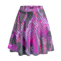 Fuchsia And Gray Snakeskin High Waist Skirt by bottomsupbykenique