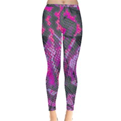 Fuchsia And Gray Snakeskin Inside Out Leggings by bottomsupbykenique