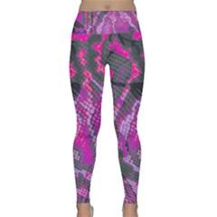 Fuchsia And Gray Snakeskin Lightweight Velour Classic Yoga Leggings by bottomsupbykenique