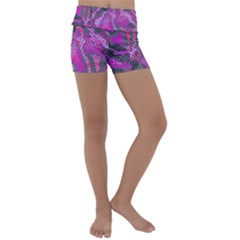 Fuchsia And Gray Snakeskin Kids  Lightweight Velour Yoga Shorts by bottomsupbykenique
