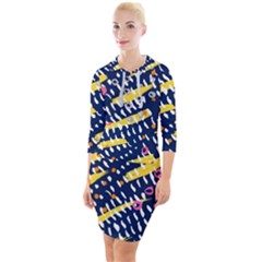 Abstract Colorful Doodle Pattern Quarter Sleeve Hood Bodycon Dress by tarastyle