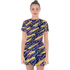 Abstract Colorful Doodle Pattern Drop Hem Mini Chiffon Dress by tarastyle