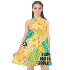 Abstract Colorful Doodle Pattern Halter Neckline Chiffon Dress  by tarastyle
